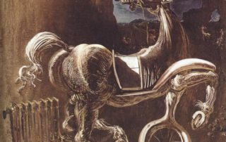 Salvador Dalì, Debris of an automobile giving birth to a blind horse biting a telephone, 1938